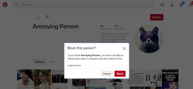 Block Someone on Pinterest